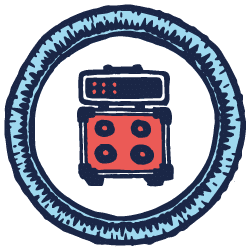 Blue illustrated scout badge with a electric guitar amp stack