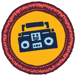 Red & yellow illustrated scout badge with a boombox