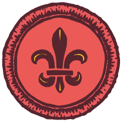 Red illustrated scout badge with a fluer de lis