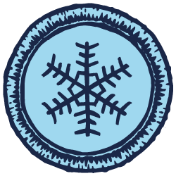 Blue illustrated scout badge with a snowflake