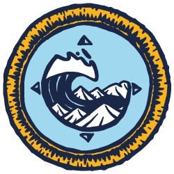blue & yellow illustrated scout badge with a wave