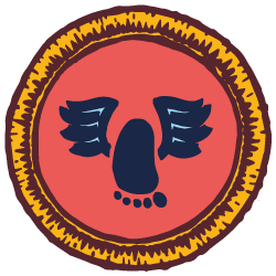 Red & yellow illustrated scout badge with an achilles heel emblem